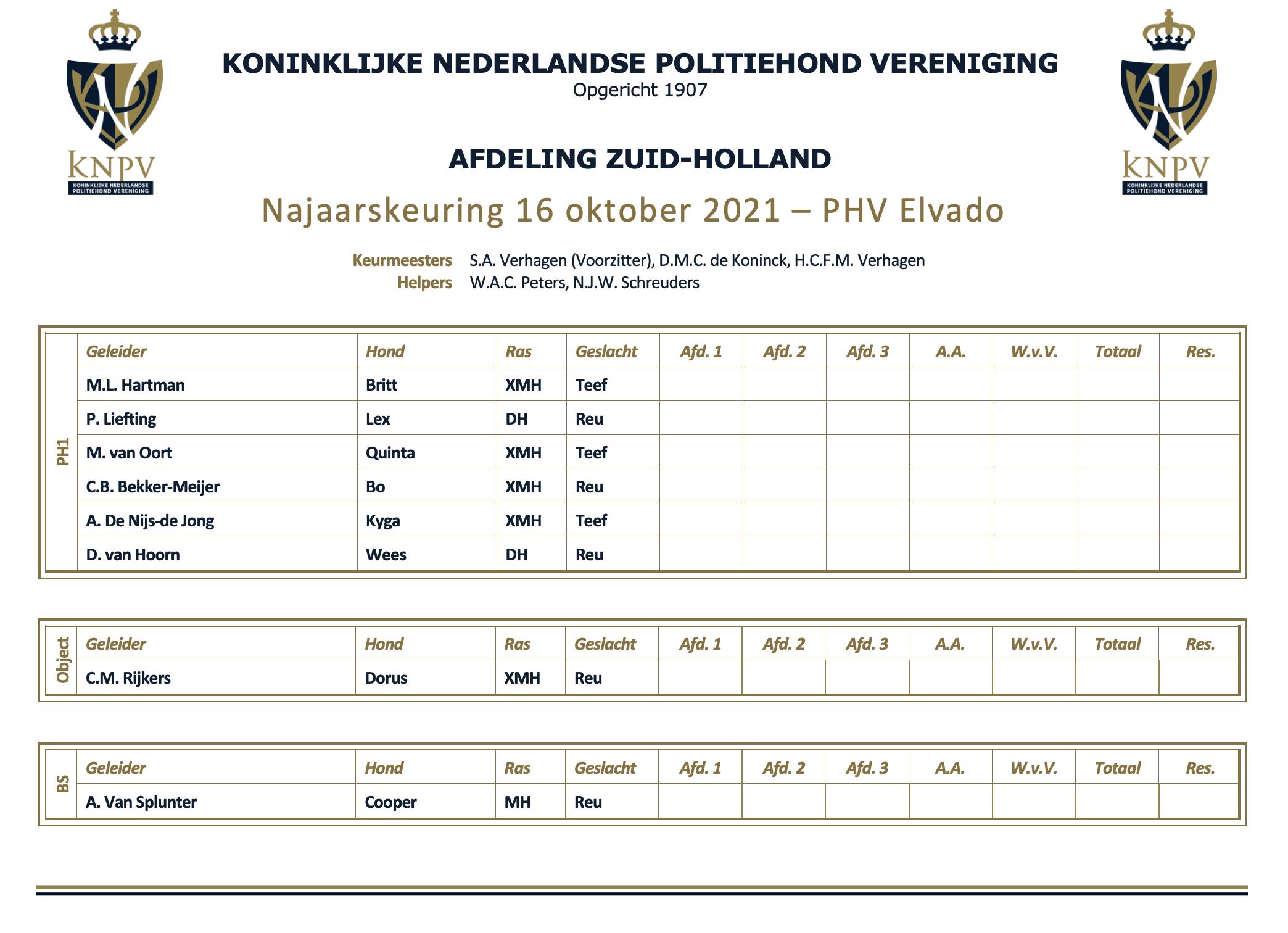 Najaarskeuring Zuid-Holland alleen op zaterdag 16 oktober